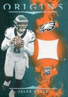 2020 Origins Jalen Hurts Orange RC Patch /75 Philadelphia Eagles Rookie