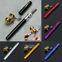 Mini Portable Pocket Fish Pen Shape Aluminum Alloy Fishing Rod Pole Reel 5 Color