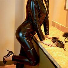Fever Miss Whiplash Vinyl Suit Black Catsuit Catwoman Fancy Dress Costume  U9