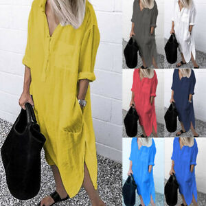 Women Button Long Sleeve Shirt Dress Casual Loose Pocket Split Kaftan Maxi Dress