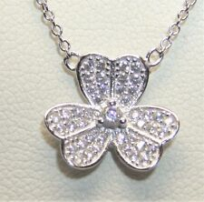 925 STERLING SILVER SIMULATED DIAMOND LUCKY CLOVER LEAF  NECKLACE