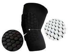 Padded Hexagon Style Knee Support Brace Guard, Bandage Wrap Sleeve Black- Large