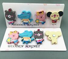 Free Diy Cartoon Magnets Stick Novelty Wooden Fridge Refrigerator Toy 4pcs