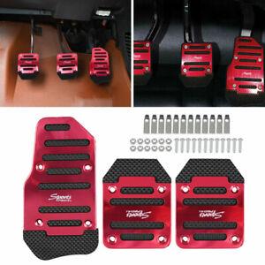 3PCS Red Universal Non-Slip Pedals Pad Cover Car Interior Decor Car Accessories