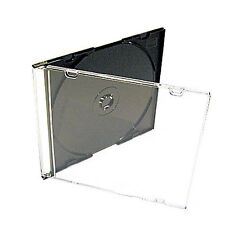 100 X CD DVD Slimline Jewel 5.2mm Cases for 1 Disc With Black Tray Pack of 100