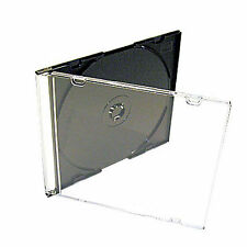 100 x Slimline Single CD Jewel Case Cases Black Tray 5.2mm High Quality UK Stock