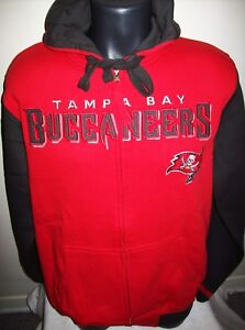 TAMPA BAY BUCCANEERS 2 Color Hooded Jacket NFL Full Zip Hoody Sewn Logos M L