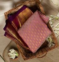 Designer Kanchipuram Silk Saree Jacquard Weaving Pink Sari Ethnic Women's Cloth