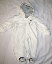 New Carters White Penquin Fleece Baby Bunting Winter One...