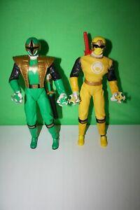 "Power Rangers Ninja Storm Green Samurai & Yellow Ranger 12"" Action Figures 2002"