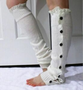 Women High Knee Socks Leg Warmers Skin-Friendly Striped Pattern Knitted Socks