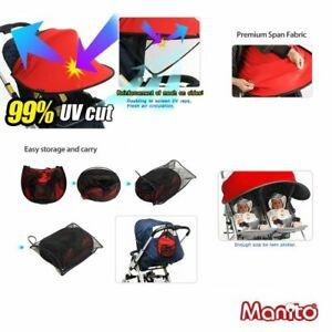 Manito Anti UV Sun Shade TWIN Baby Buggy Stroller Pram Pushchair Car Seat (RED)