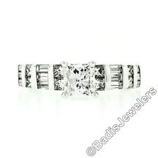 18k White Gold Princess Diamond Solitaire Engagement Ring w/ Rounds & Baguettes