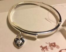 NWT COACH Sterling Silver Heart Lock Hinged Bangle(STYLE NO. F90956) MFSRP $250
