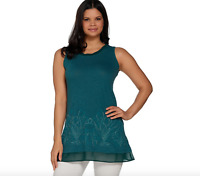 LOGO by Lori Goldstein Embellished Slub Knit Tank with Chiffon - Mystic Teal -XS