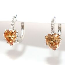 Sparkling Heart Citrine CZ Earrings Hoop Women Jewelry 14K White Gold Plated