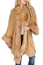 NWT Faux Fur Trimmed Shawl Poncho Sweater Jacket - Camel
