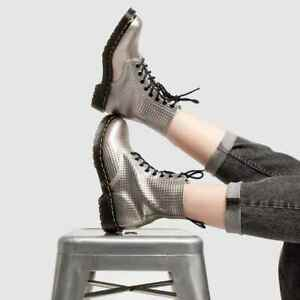 Dr. Martens Silver Metallic 1460 Pascal Stud Emboss Leather Boots RRP£149 UK5-8