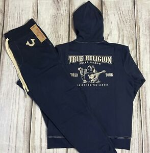 True Religion Men Sweatsuit 2pc Full Zip Hoodie And Jogger Size Large NWT Navy