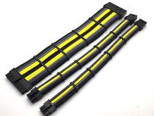 3 Straight Sleeved Extension Cable Combs 24pin 8pin 4pin ATX CPU, 8pin 6pin PCIE