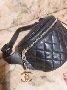 Chanel Bum Belt Bag Weist Pouch Fanny Pack Black Lambskin Leather Vintage