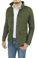 Diamond cappotto giacca uomo scamosciato verde slim fit giubbotto trench casual