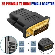 HDMI Male To DVI-D (24+1) 25 Pin Female Dual Link Adapter Black With Gold US pf