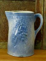 Blue & White Stoneware Pottery Pitcher CHERRIES BASKET WEAVE Primitive Antique