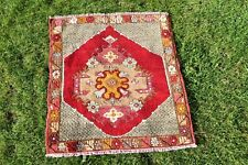 2.4x2.6ft Doormat Turkish Carpet Floral Design Red Color Small Size Tribal Rug