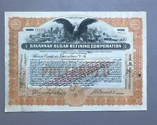 1920 Savannah Sugar Refining Corporation - Stock Certificate