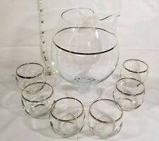 VTG Dorothy Thorpe ERA 6 Silver Rim Roly Poly Snifter Cordial Glasses & Pitcher