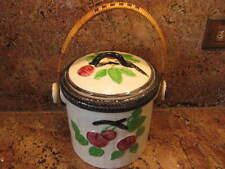 "Biscuit Jar-Fruit Surround-Wicker Handle-7"" Tall"