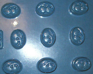 9 SMALL OVAL SHAPES WITH TWO CHERRIES CHOCOLATE MOULD