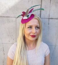 Hot Pink Green White Statement Feather Fascinator Headband Ascot Hat Races 2415