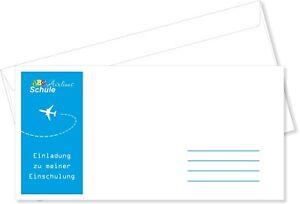 Briefumschläge DIN Lang Einschulung Blau Flugticket Junge Umschlag mit Druck