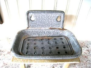"Antique Primitive 2 Pc Gray Granite Enamelware Soap Dish Wall Holder 6"" Patina"