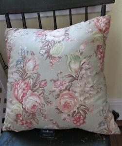 "Vintage Ralph Lauren Charlotte Throw Pillow 16""X16"" Sage Rust Peach Floral"