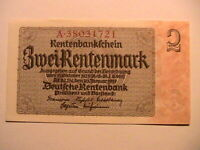1937 Germany 2 Marks CH CU Original German Deutsche Banknote Currency P-174b