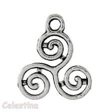 10 argent antique triskelion charms symbole celtique triple spirale pendentifs 16mm