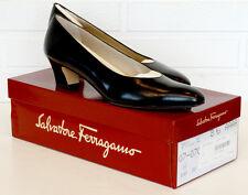 SALVATORE FERRAGAMO Pumps SNELLA Black CALF LEATHER Shoes / NEW IN BOX