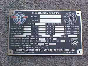 Curtiss Wright Aircraft 18 cylinder acid etched data plate
