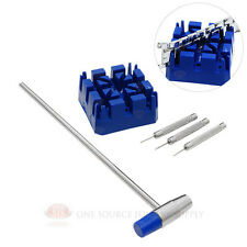 Watch Link Pin Remover Repair Tool 5 Piece Set With Hammer Pins & Holder