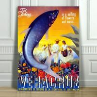 "VINTAGE TRAVEL CANVAS ART PRINT POSTER - Vera Cruz Mexico - Fishing - 10x8"""
