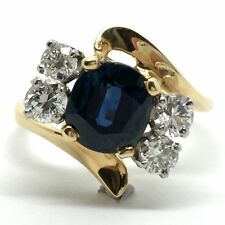 14k solid yellow gold sapphire and diamond ring