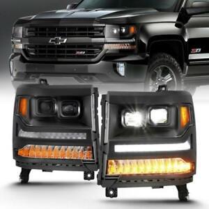 ANZO Fits:16-18 Chevrolet Silverado 1500 LED Projector Headlights w/Plank Style
