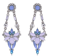 Gorgeous Anthropologie Sharouk style Blue  + Clear Rhinestone Drop  Earrings