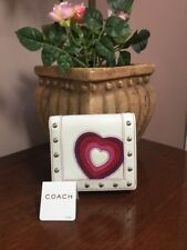 New Coach Valentine's Day White Leather Red Heart Studded Mini Wallet 6596 W9