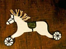 Vtg. Folk art Wood Wall Mounted Horse Carousel Coat Hanger, 2 pegs
