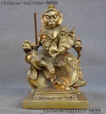 old Chinese brass Sun WuKong Monkey King Golden Cudgel Hold Peach Buddha Statue