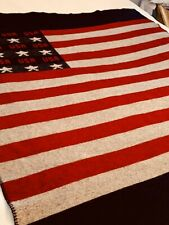"""Woolrich Wool USA Flag Thrown Blanket Size 55"""" X 64"""" Heritage, Heirloom Quality"""